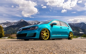Picture mountains, Volkswagen, golf, tuning, GTI, stance, MK7