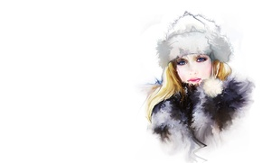 Picture winter, girl, hat, art