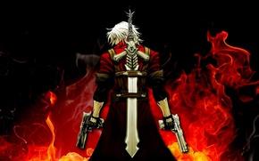 Picture guns, sword, sword, Dante, red coat, Dante, baby, game wallpapers, fanart, fanart, Rebellion, Rebellion, demon …