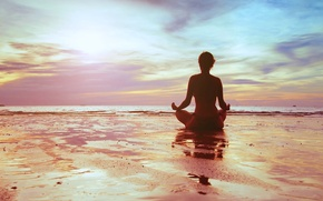 Picture sea, girl, sunset, meditation, meditation