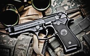 Picture gun, binoculars, Beretta M9, ammunition equipment, bokeh wallpaper, caliber 9x19 mm Parabellum, semi-automatic Beretta M9