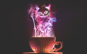 Picture cat, smoke, Cup, cat, cup, cheshire, Cheshire