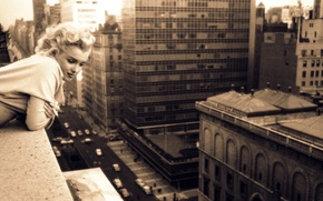 Picture street, actress, balcony, singer, Chicago, Marilyn Monroe, chicago, Marilyn Monroe