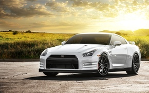 Picture field, white, the sun, glare, Nissan, white, GT-R, Nissan, front