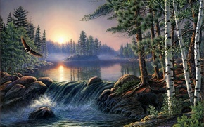 Picture forest, landscape, fog, river, sunrise, eagle, bear, birch, forest, painting, birch, river, bear, nature, pine, ...