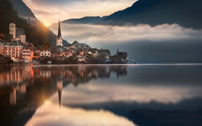 Wallpaper reflection, Austria, Hallstatt