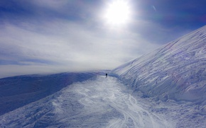 Wallpaper lost, winter, mountain, snow, man