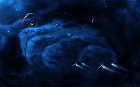 Picture space, stars, ships, station, nebula