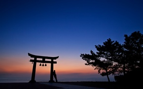 Picture the sky, trees, sunset, orange, people, the evening, Japan, silhouette, architecture, blue, torii
