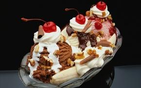 Picture cherry, ice cream, nuts, banana, dessert, chocolate, strawberry, vanilla