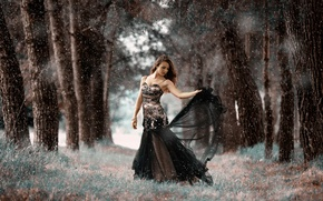 Picture forest, girl, dress, stroke, The cold forest