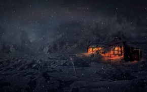 Picture winter, snow, night, house, tundra, Concept Art, Computer Graphics, Animation, Video Games, VFX