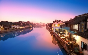 Picture river, home, village, China, East
