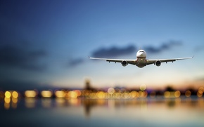 Picture sea, the sky, flight, the city, lights, the plane, height, the evening, blur, airplane, bokeh, ...