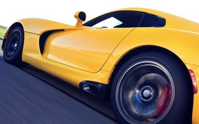 Picture Dodge, Viper, Yellow, GTS, Side View, Motion, STR