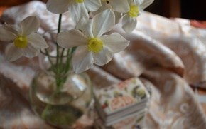 Picture vase, yellow, tablecloth, daffodils, white color