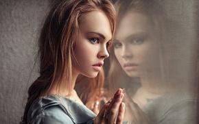 Wallpaper Portrait, Glass, Beautiful, Reflection, Studio, Anastasia Shcheglova, Girl