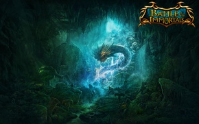 Picture dragon, cave, battle, swords, knights, skeletons, game wallpapers, immortal, Battle of the immortals, .battle