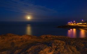 Picture sea, beach, the moon, calm, Night, lights, moonlight