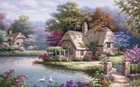 Picture river, home, picture, painting, swans, painting, Sung Kim