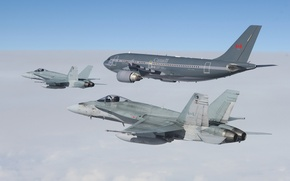 Picture flight, fighters, Hornet, CF-18, tanker aircraft, CC-150 Polaris