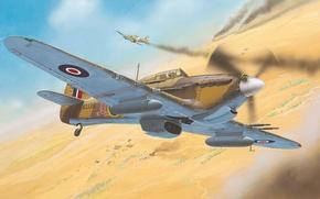 Picture war, desert, figure, fighter, art, Hawker, Hurricane Mk II