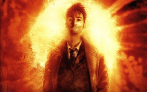 Wallpaper the explosion, fire, movie, figure, show, male, the series, grin, doctor who, doctor who