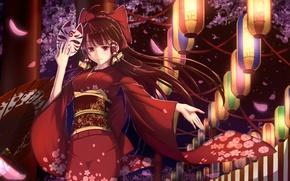 Wallpaper art, smile, kimono, anime, hakurei reimu, petals, girl, touhou, Sakura, bakanoe, mask, lanterns