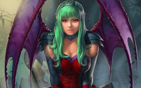 Picture look, wings, art, green hair, vampire