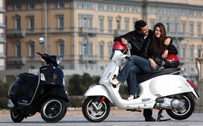 Picture girl, guy, fashion, lifestyle, super, the city. street, Vespa-gts-300, scooter