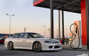 Picture nissan, white, wheels, japan, jdm, tuning, silvia, s15, low, stance, datsun