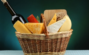 Picture wine, basket, cheese