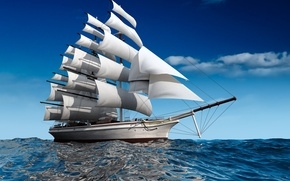 Picture sea, photo, ships, different, 3D graphics, sailing