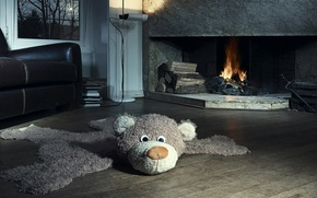 Picture house, toy, chair, bear, fireplace, apartment, plush, mansion, the room