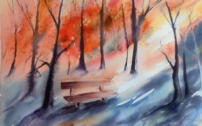 Picture autumn, watercolor, bench