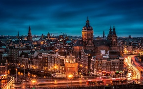 Picture Amsterdam, street, Noord-Holland, roof, the city, lights, the evening, Nederland, night, building, road, bridge, home, ...