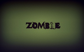 Picture green, the inscription, hand, zombies, zombie