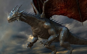 Picture the sky, clouds, wings, Dragon, fantasy, spikes, claws, horns, flight, fantasy, Dragon, horns, sky, flight, ...