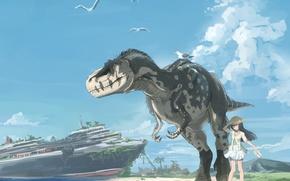 Picture the sky, dinosaur, anime, art, girl