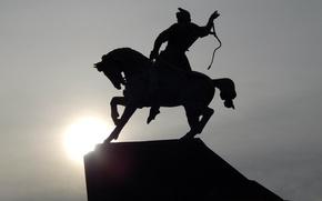 Picture the sun, horse, monument, rider, Ufa, Salavat Yulaev