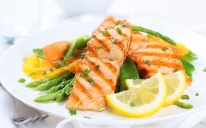 Picture lemon, food, vegetables, fruit, food, fish, garnish, fish