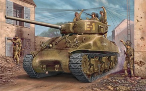 Picture war, art, painting, tank, ww2, m4a1 Sherman