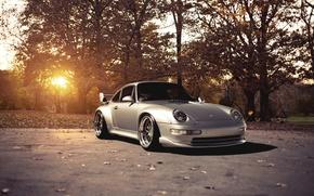 Wallpaper the sun, trees, 911, Porsche, silver, Porsche, Blik, GT2, front, silvery, 993