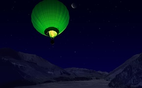 Picture mountains, night, ball