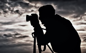 Picture BACKGROUND, The SKY, CLOUDS, MALE, The CAMERA, SILHOUETTE, TRIPOD, PHOTOGRAPHER