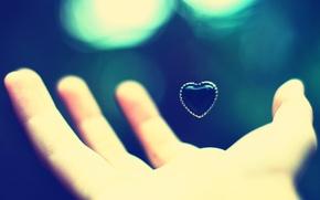 Wallpaper blur, heart, Hand, palm, bokeh, heart