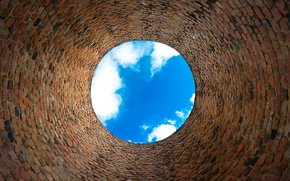 Picture wall, sky, blue, bricks, clouds, effect