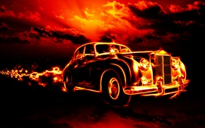 Wallpaper car, clouds, machine, city, city, fire, flame, fire, flame, horror, horror, classic, smoke, clouds, classic, ...