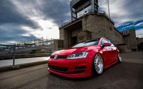 Picture Volkswagen, Red, golf, Wheels, Avant-Garde, mk7
