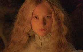 Picture cinema, green eyes, long hair, woman, movie, blonde, film, sweater, MIA Wasikowska, wife, deceived, Crimson …